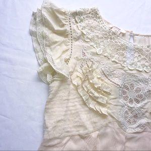 Sundance Tops - Sundance Lace Top Blouse Cream Shirt L